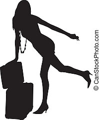 Silhouette travel woman