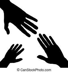 silhouette, tre, mani