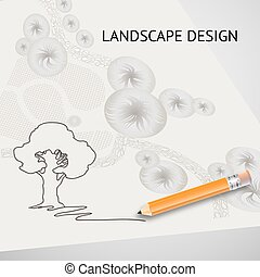 Silhouette tree, garden plan, pencil and words Landscape design
