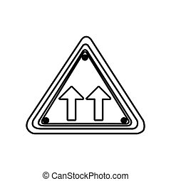 silhouette triangle shape frame same direction arrow road traffic sign