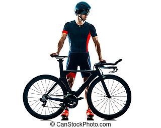 silhouette, triathlete, triathlon, freigestellt, radfahren, weißes, radfahrer, b