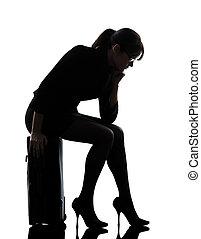 silhouette, triste, voyager, affaires femme, fatigué