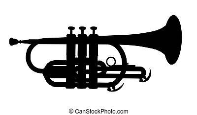 silhouette, trompette