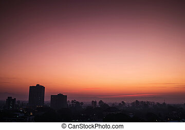 Silhouette, tropical city in dawn