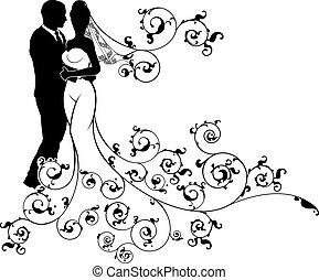 silhouette, trouwfeest, bruid, bruidegom, paar