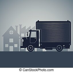 silhouette truck delivery town cargo