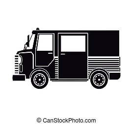 silhouette truck van delivery shipping mail service