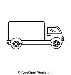 silhouette truck with wagon icon flat
