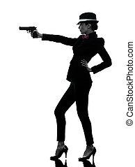 silhouette, tueur, gangster, femme, fusil