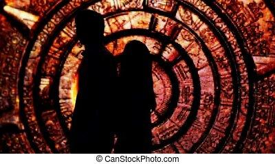 silhouette, tunnel, paar, hebben, ruggen, versiering, hun,...