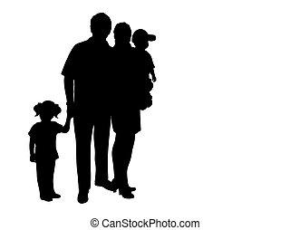 silhouette, twee, gezin, kinderen