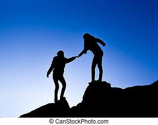 silhouette, twee, hand, portie, tussen, klimmer