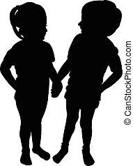 silhouette, twee kinderen