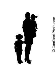 silhouette, twee kinderen, weinig moeder