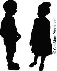 silhouette, twee, klesten, kinderen