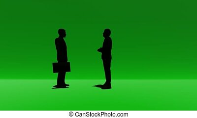 Silhouette two people talking on green - Silhouette two...