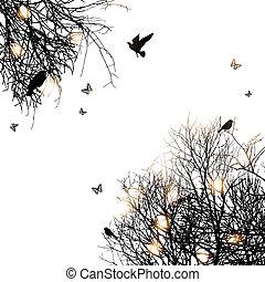 silhouette, uccelli, albero