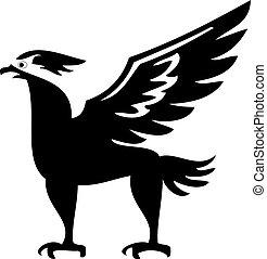silhouette, uccello, phoenix