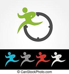 silhouette, uhr, läufer, geschwindigkeit, symbol, paket,...