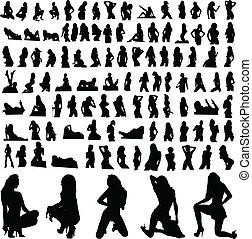 silhouette, une, chaud, vecteur, partie, girl