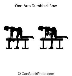 silhouette, une, dunbbell, bras, exercice, rang