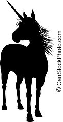 Silhouette Unicorn - Unicorn mythical horse in silhouette