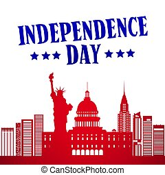 Silhouette United States Landmarks Independence Day Holiday 4 July Banner