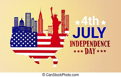 Silhouette United States Map With Landmarks Independence Day Holiday 4 July Banner