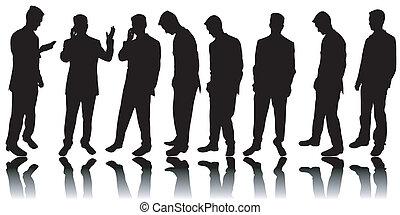 silhouette, uomini, affari