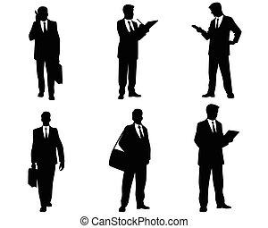 silhouette, uomini affari