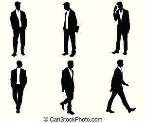silhouette, uomini, bianco