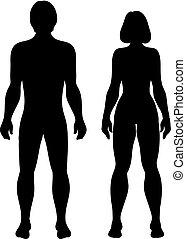 silhouette, uomini, sfondo bianco, donne