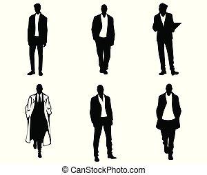 silhouette, uomini, sfondo bianco