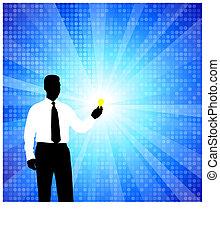 silhouette, uomo, bulbo, affari leggeri