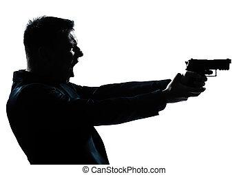 silhouette, uomo, ritratto, con, fucile