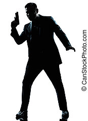 silhouette, uomo, spia, presa a terra, fucile