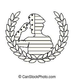 silhouette, usa, couronne, drapeau, saluer, militaire