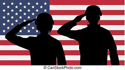 silhouette, usa, drapeau américain, soldats, salut