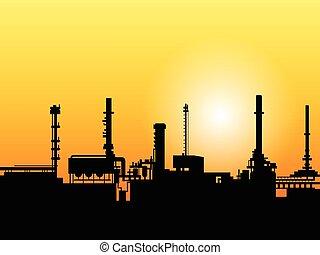 silhouette, usine