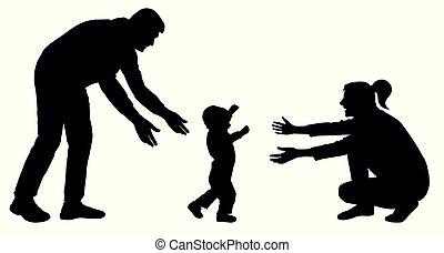 silhouette, va, famille, étapes, maman, bébé, premier, événement, vector.