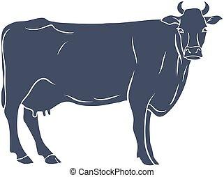 silhouette, vache, isolé, arrière-plan., vecteur, blanc