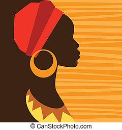 silhouette, van, afrikaan, meisje, in profiel, met,...