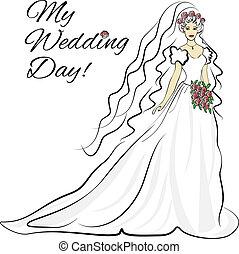 silhouette, van, bruid, uitnodigingskaart