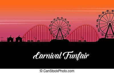 silhouette, van, carnaval, pretmarkt, landschap