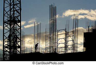 silhouette, van, de arbeider van de bouw