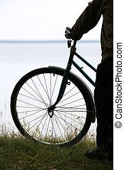 silhouette, van, de, bicyclist