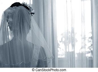 silhouette, van, de, bruid