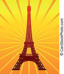 silhouette, van, de eiffel toren