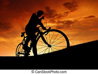 silhouette, van, de, fietser