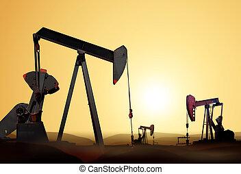 silhouette, van, de pomp van de olie